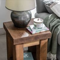 Wansbeck Side Table | Rustic Lamp Table | Handcrafted